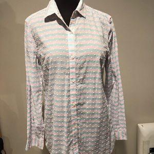 J McLaughlin Checked Swiss dot detailed blouse